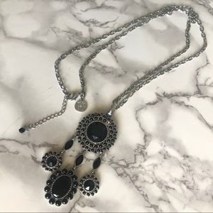 White House Black Market Jewelry - WHBM Jet Cabochon Circle Drop Pendant Necklace
